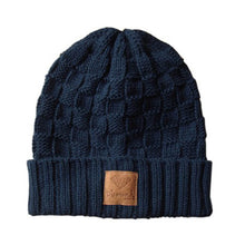 Load image into Gallery viewer, Diamond Checker Fold Navy/Brown Beanie