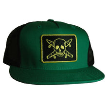 Load image into Gallery viewer, Fourstar Pirate Mesh Snapback kelly green/black cap