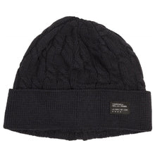 Load image into Gallery viewer, Fourstar Cable Knit Fold navy beanie