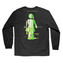 Load image into Gallery viewer, Girl Glitch Mode black long sleeve T shirt