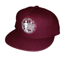 Load image into Gallery viewer, Girl Seal burgundy snapback cap
