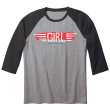 Load image into Gallery viewer, Girl BA Wings heather/black 3/4 sleeve baseball shirt