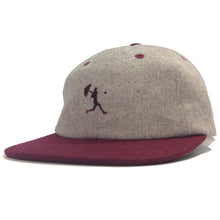 Load image into Gallery viewer, Helas Baller grey/burgundy wool 6 panel cap
