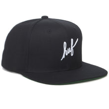 Load image into Gallery viewer, HUF Script black starter snapback cap