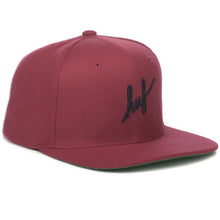 Load image into Gallery viewer, HUF Script burgundy starter snapback cap