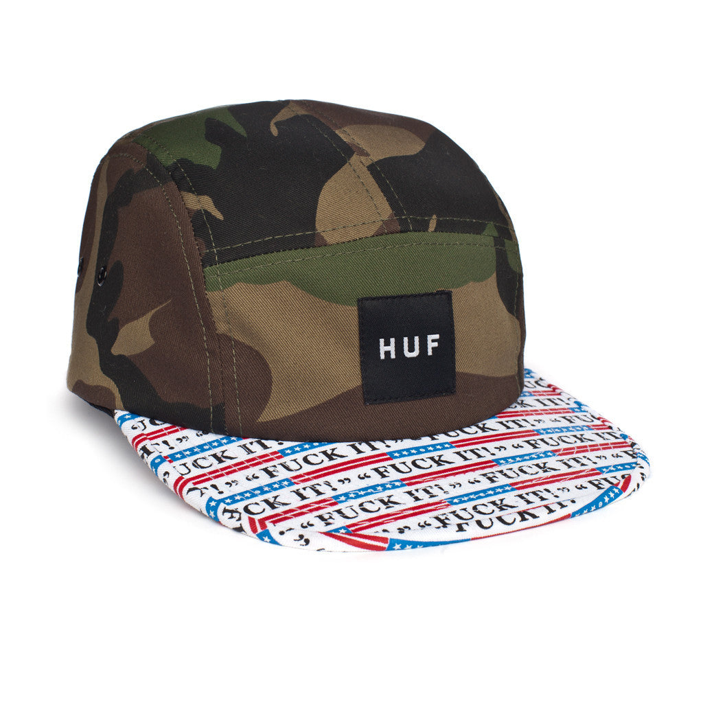 HUF Fuck It camo volley 5 panel cap