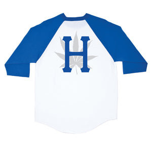 HUF H Town royal blue/white raglan 3/4 length T shirt