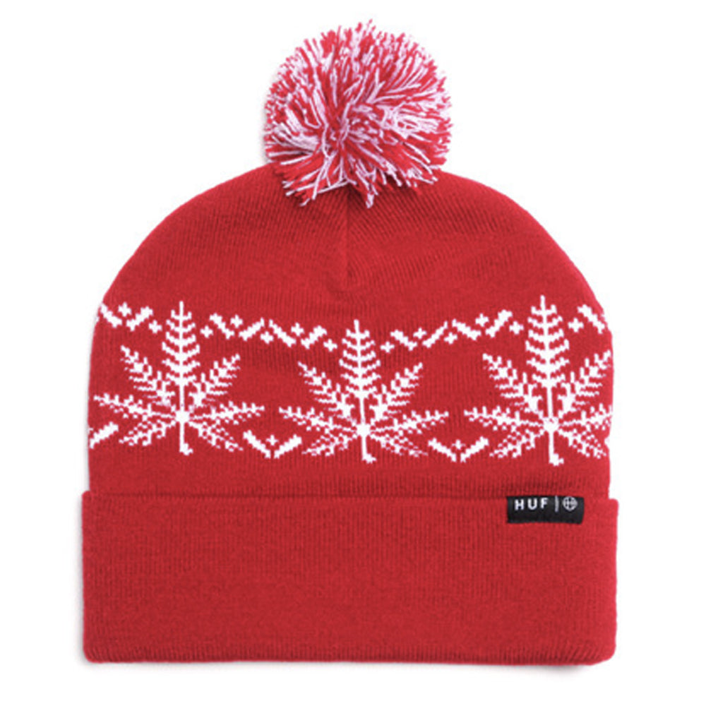 HUF Nordic Leaves red beanie