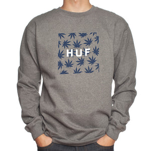 Huf Plantlife Box Logo grey heather crew