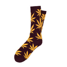 Load image into Gallery viewer, HUF Plantlife wine/gold crew socks
