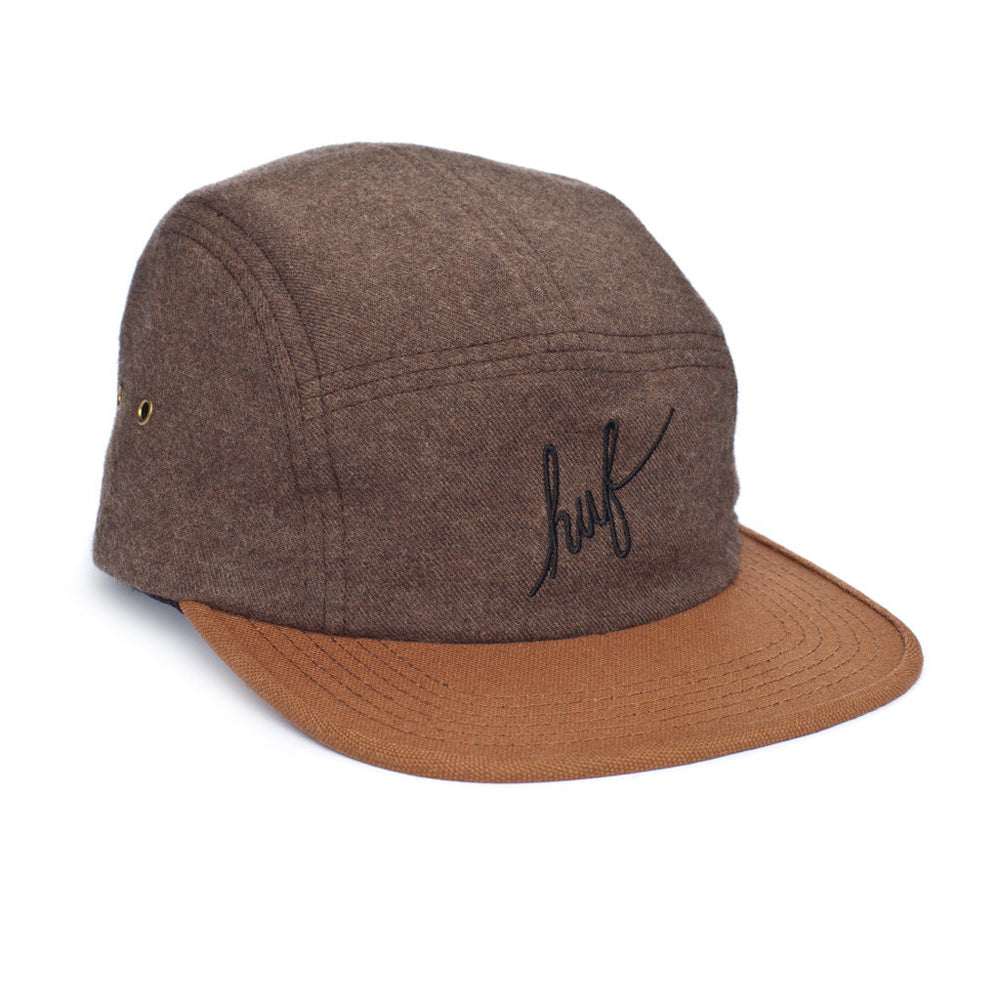 HUF Script Flannel brown volley 5 panel cap