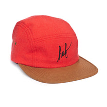 Load image into Gallery viewer, HUF Script Flannel red volley 5 panel cap