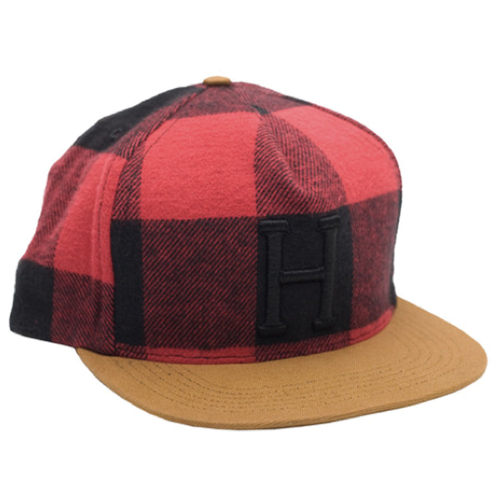 HUF Classic H buffalo red check snapback cap