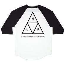 Load image into Gallery viewer, HUF Triple Triangle white/black raglan T shirt