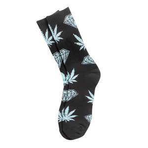 HUF x Diamond Plantlife x Diamondlife black crew socks