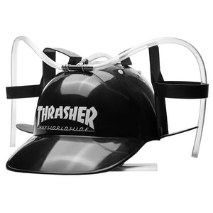 HUF x Thrasher black beer helmet