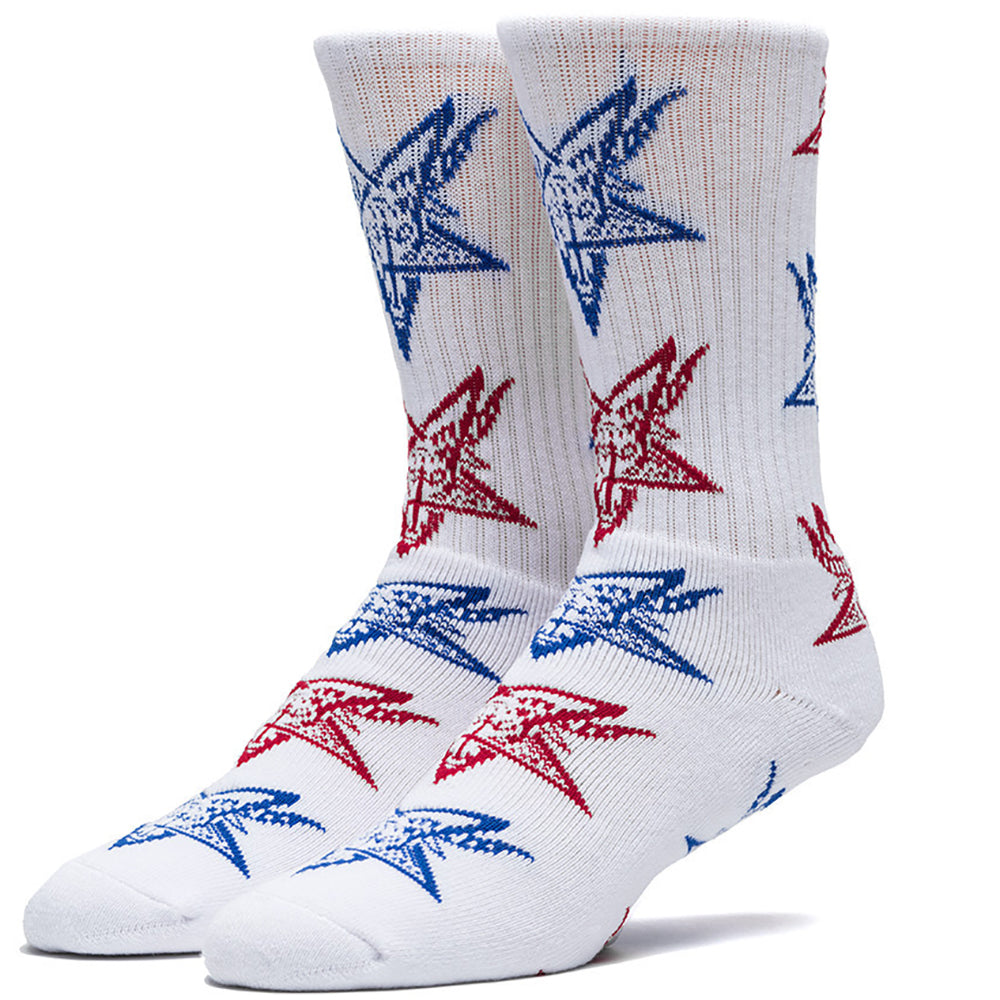 HUF x Thrasher Goat white/red/blue socks