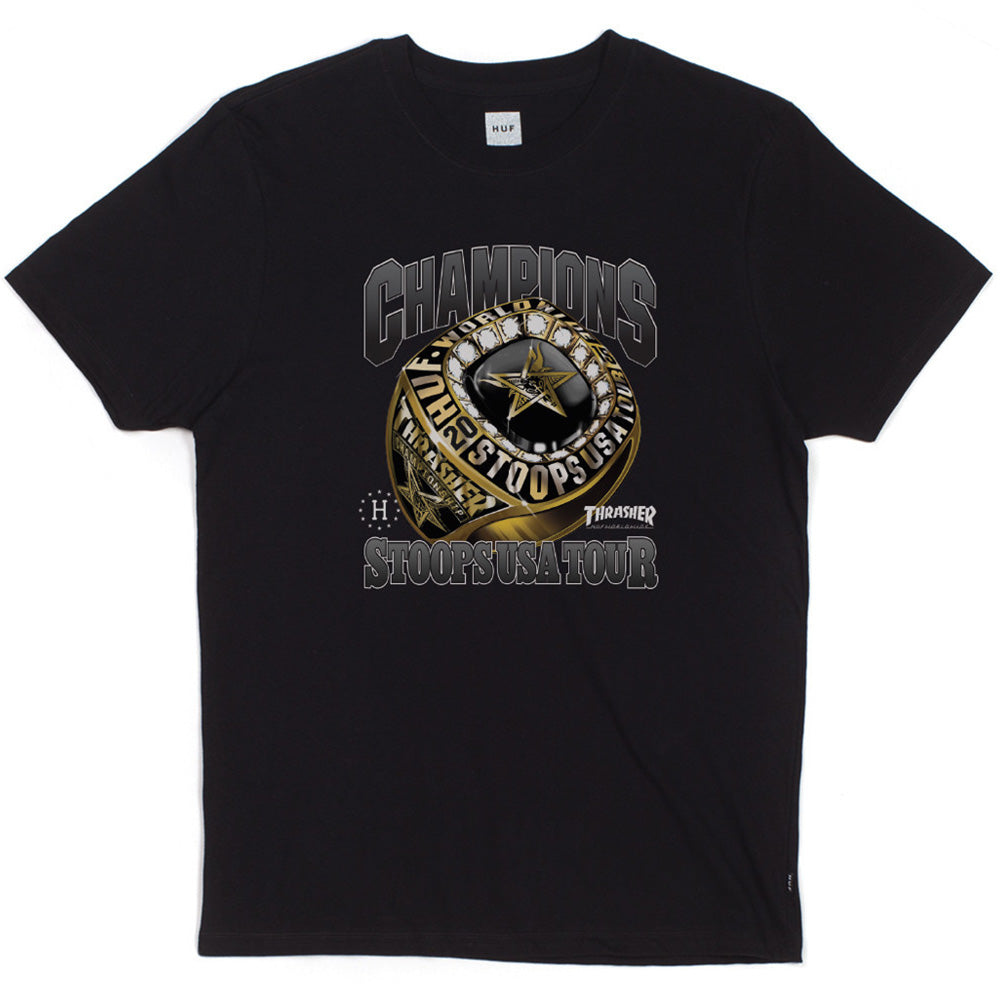 HUF x Thrasher World Champs black T shirt