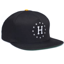 Load image into Gallery viewer, HUF 12 Galaxies black/yellow starter snapback cap