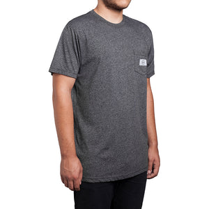 HUF Circle H dash heather black pocket T shirt