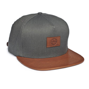 HUF Leather Circle H black strapback cap