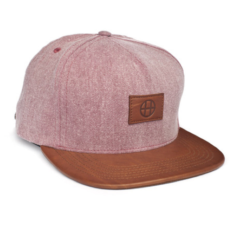 HUF Leather Circle H maroon strapback cap