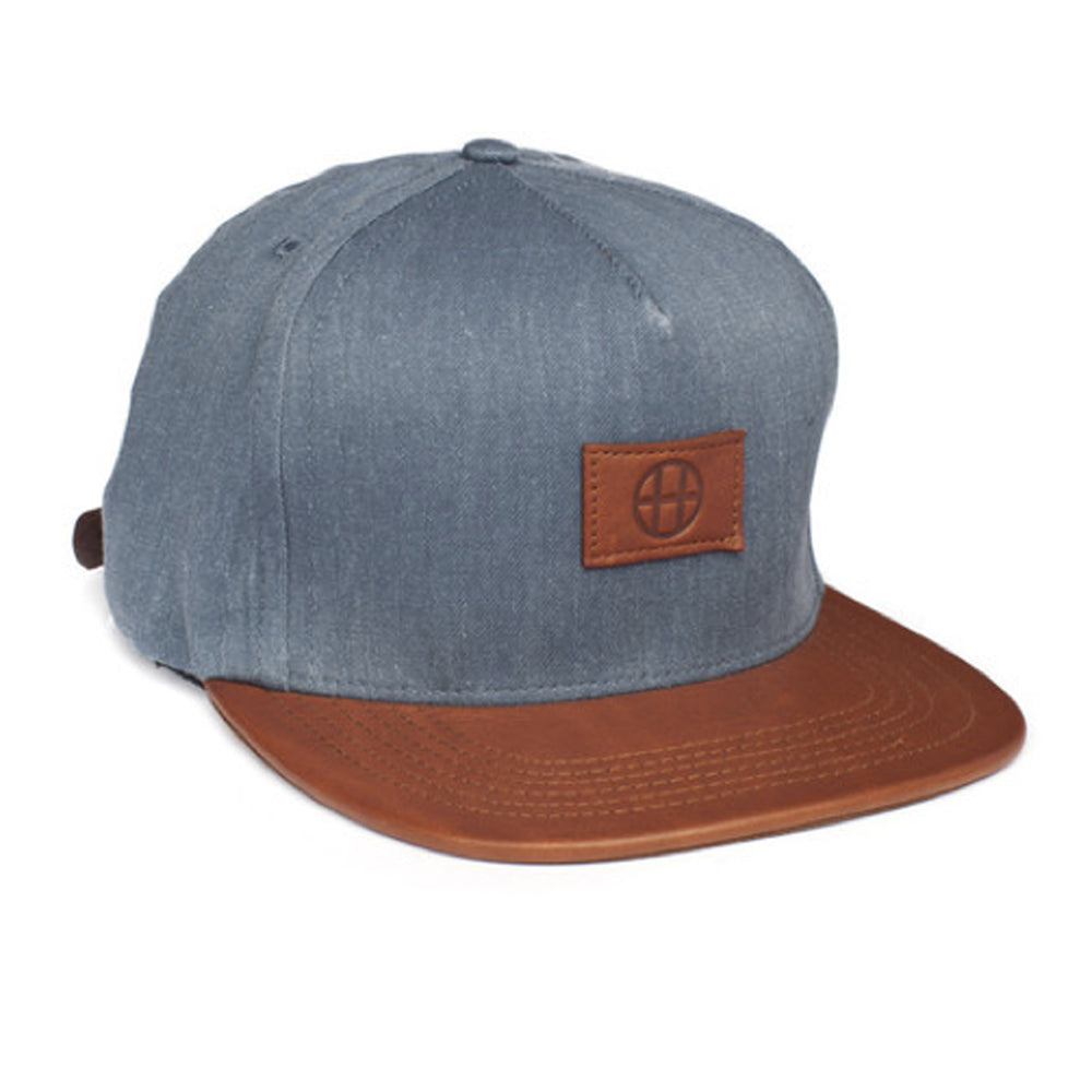 HUF Leather Circle H navy strapback cap