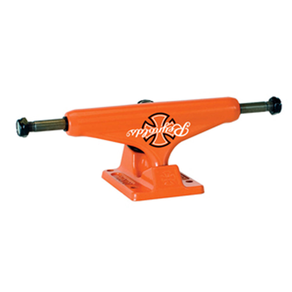 Independent Reynolds orange 129 Low Stage 10 trucks (pair)