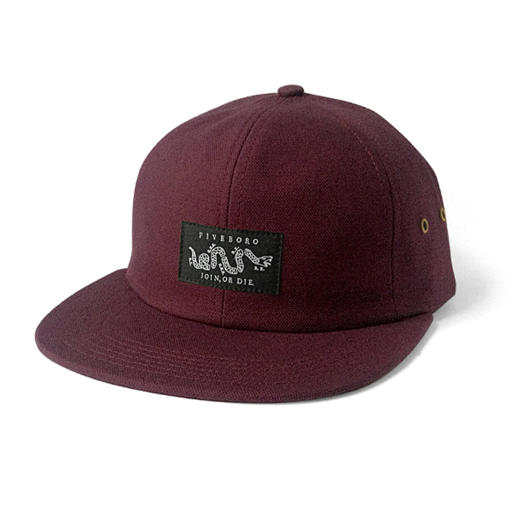 5Boro Join Or Die burgundy 6 panel cap