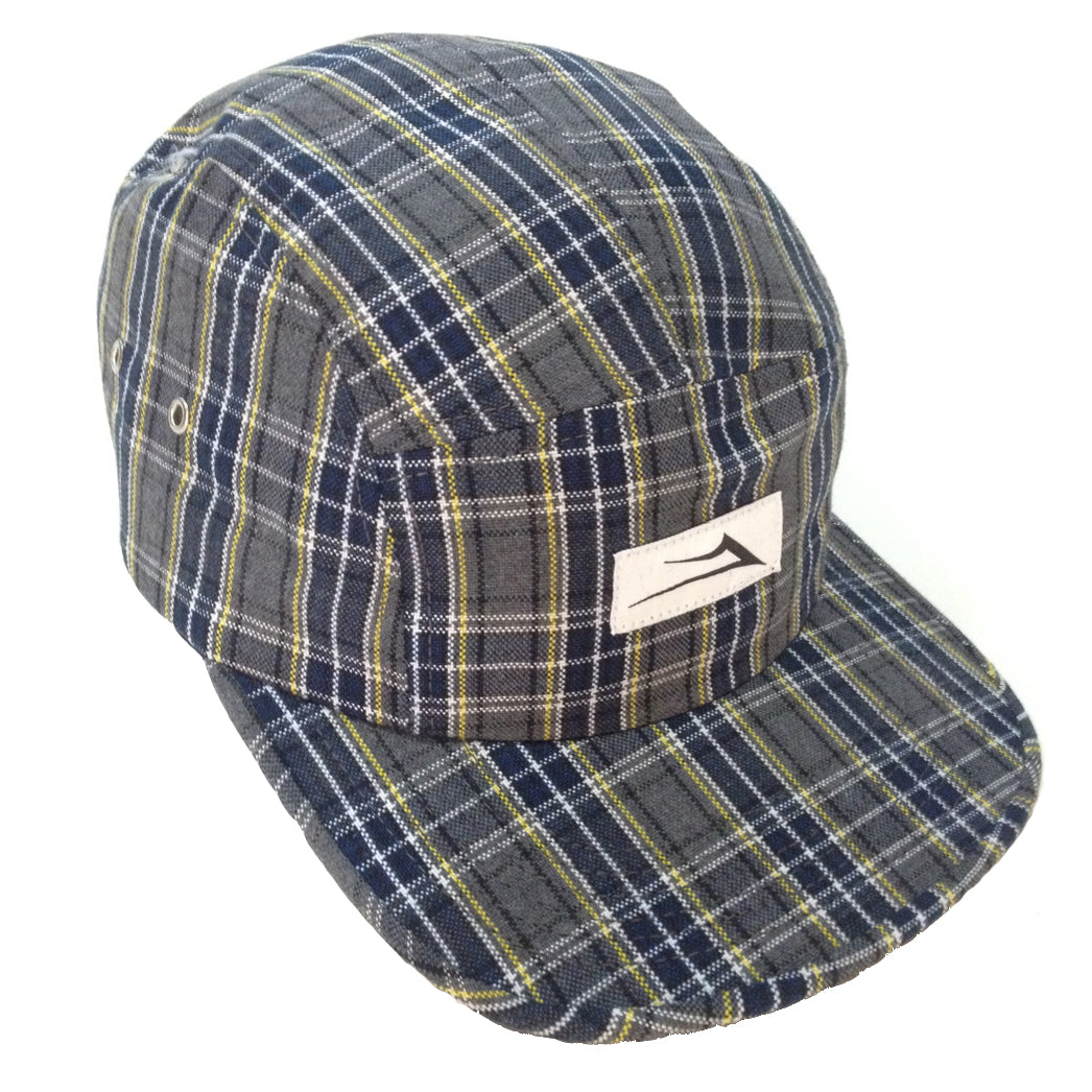 Lakai Flare grey/navy/yellow plaid camper 5 panel cap