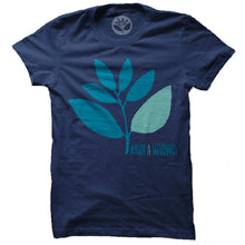 Load image into Gallery viewer, Magenta Plant blue T shirt