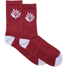 Load image into Gallery viewer, Magenta Plant socks burgundy