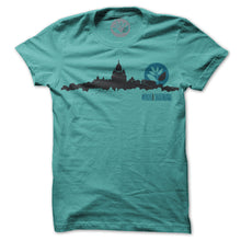 Load image into Gallery viewer, Magenta Skyline green T shirt