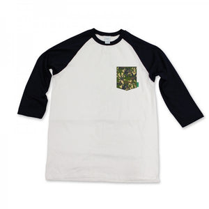 Mighty Healthy Horticulture black/white raglan pocket T shirt