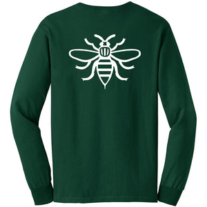 NOTE Bee Back forest green/white long sleeve T shirt