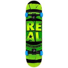 Load image into Gallery viewer, Real Damaged green/blue large complete skateboard
