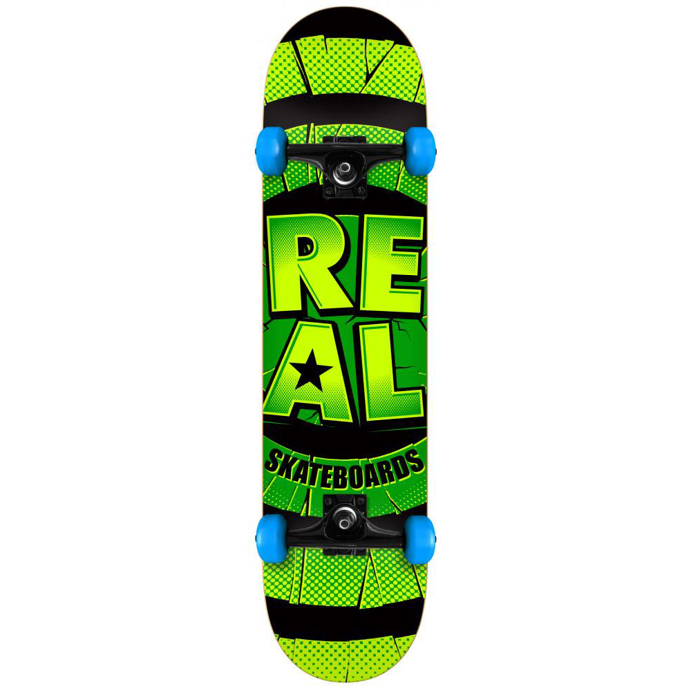 Real Damaged green/blue large complete skateboard