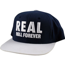 Load image into Gallery viewer, Real Genuine navy/white snapback cap