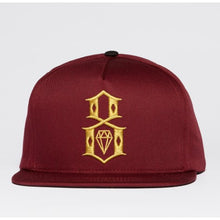 Load image into Gallery viewer, Rebel 8 Logo maroon/gold Snapback Cap