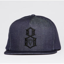 Load image into Gallery viewer, Rebel 8 Logo raw denim Snapback Cap