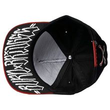 Load image into Gallery viewer, Rebel8 Burn Bridges black/red snapback cap