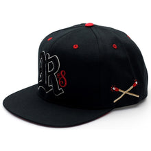 Load image into Gallery viewer, Rebel8 Burners black snapback cap