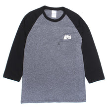 Load image into Gallery viewer, Ripndip Lord Nermal black/grey raglan T shirt