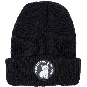 Ripndip Stop Being A Pussy ribbed black beanie