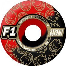 Load image into Gallery viewer, Spitfire F1 Streetburners black/red swirl 54mm wheels