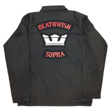 Load image into Gallery viewer, Supra X Deathwish black coach jacket