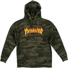 Load image into Gallery viewer, Thrasher Flame Logo hood forest camo