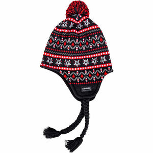 Thrasher Magazine Logo Sherpa  beanie black/red