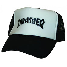 Load image into Gallery viewer, Thrasher Logo black mesh snapback cap