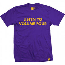 Load image into Gallery viewer, Vol 4 Listen purple/yellow T shirt